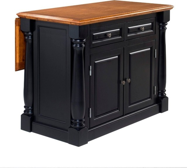 Nantucket Distressed White Finish Kitchen Island By Home Styles Monarch Kitchen Island, Black And Oak - Transitional