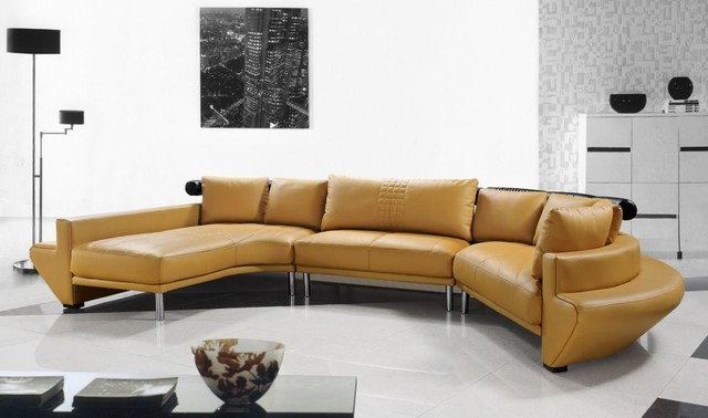Contemporary Curved Sectional Sofa in Mustard Leather - Modern - contemporary curved sofa
