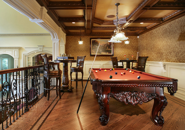 Game Room With Pool Table - Traditional - Family Room - New York