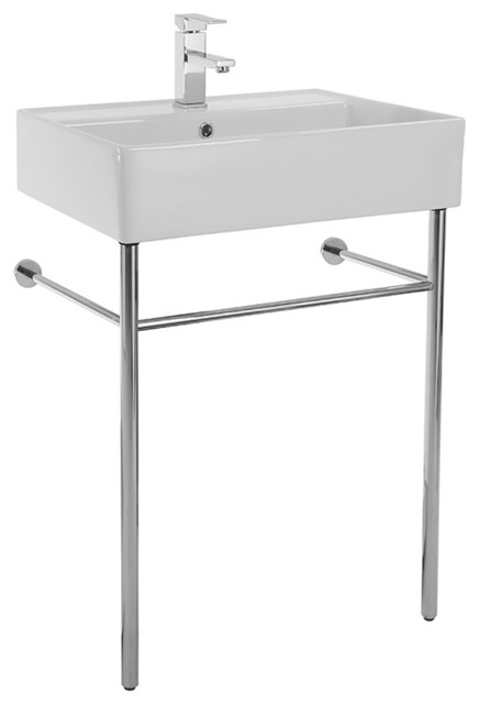 Scarabeo Ceramic Console Sink With Polished Chrome Stand