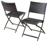 Jason Outdoor Brown Wicker Folding Chair, Set of 2 ...