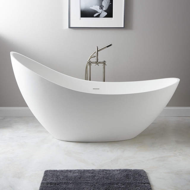 73 Quot Ballico Resin Freestanding Slipper Tub Modern Bathtubs By Signature Hardware