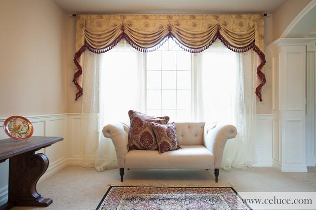 Versailles Rose - Premium Designer Swag Valances - Traditional - valances for living room