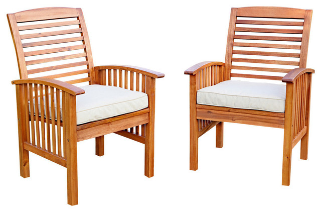 Acacia Wood Outdoor Patio Chairs With Cushions Set Of 2