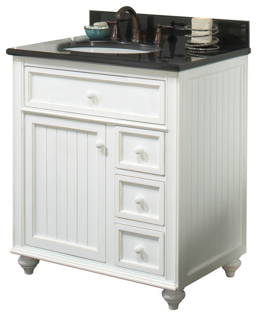 Beach Style Bathroom Vanity Cottage Retreat Vanity, Antique White - Beach Style