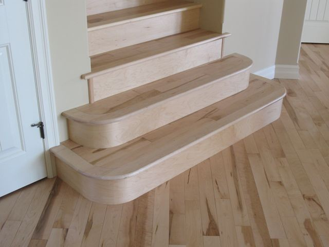 Maple Rounded Stairs Traditional Staircase Calgary