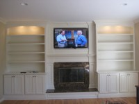 Custom built mantle, cabinets and bookshelves ...