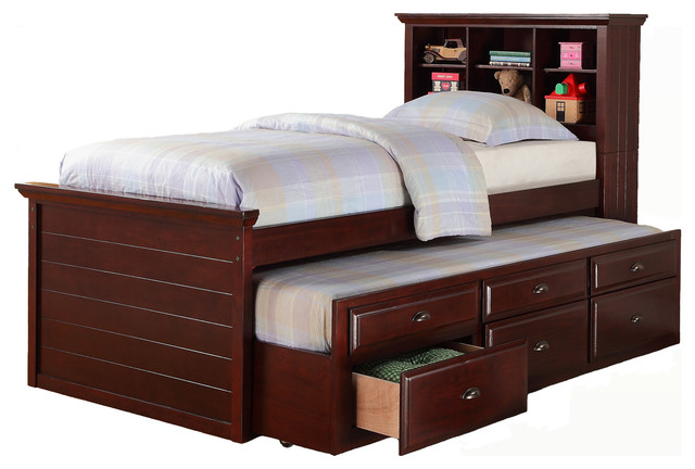 Cottage Youth Kids Twin Captain Bed Bookcase Combo Trundle