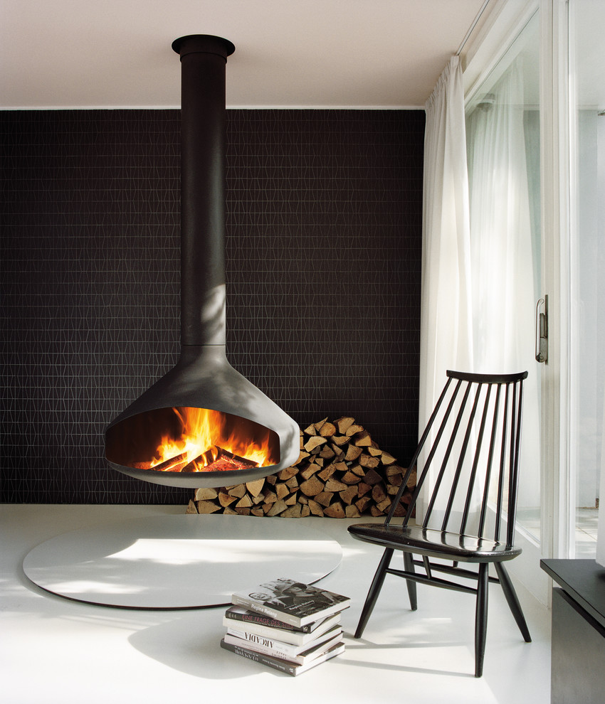 CheminÉe Centrale Central Fireplace Contemporary Living Room Montpellier By Focus Creation