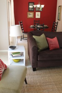 Transitional Style with Sage Green Accents and Red Walls ...