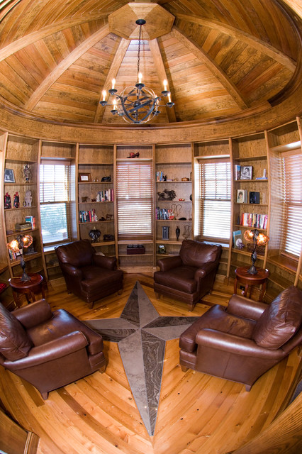 Circular Library In A Turret Traditional Home Office