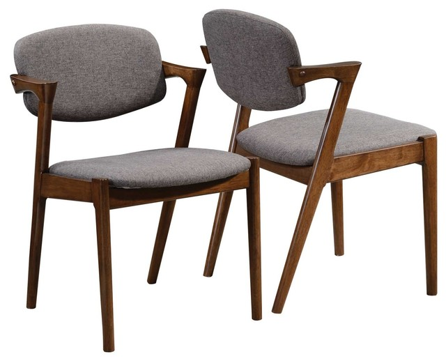Accent Walnut Wood Dining Side Chairs Fabric Padded Back
