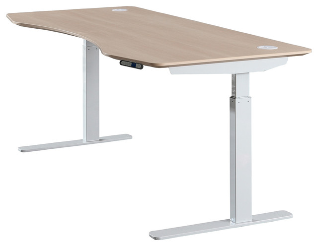 "Series L Adjustable Height Single Desk Walnut 57 Apexdesk Elite Series 71"" Electric Height Adjustable"