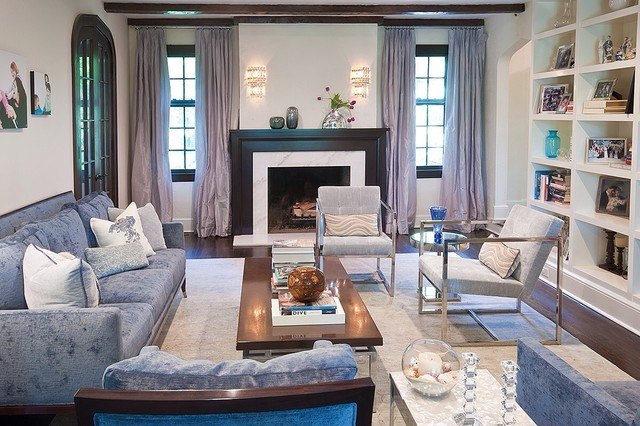 Larchmont tudor transitional style beach house - Transitional - transitional style living room