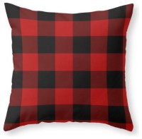 Red and Black Buffalo Plaid Throw Pillow