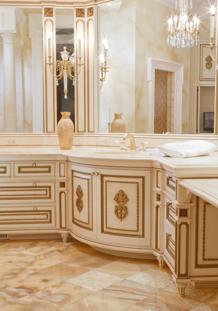 Kitchen Cabinet In Atlanta Fancy White/gilded Bathroom Vanity - Traditional