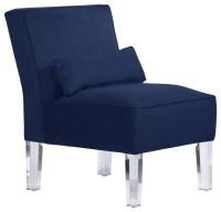 Velvet Armless Chair, Navy - Midcentury - Armchairs And ...