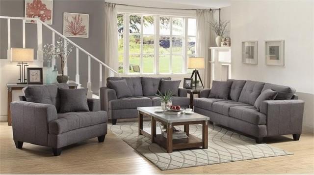Coaster Samuel 3-Piece Sofa Set, Charcoal - Contemporary - Living - gray living room furniture sets