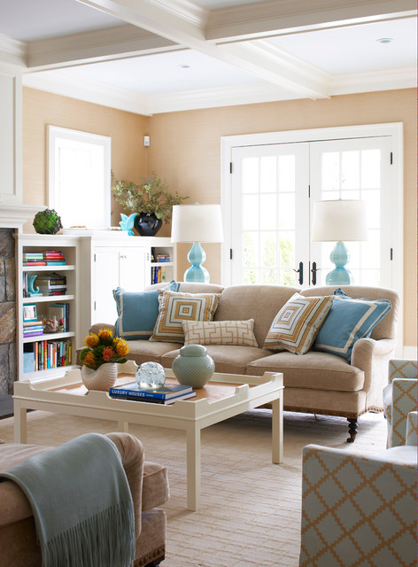 Old Greenwich Beach Family Room - Beach Style - Living Room - New - beach style living room