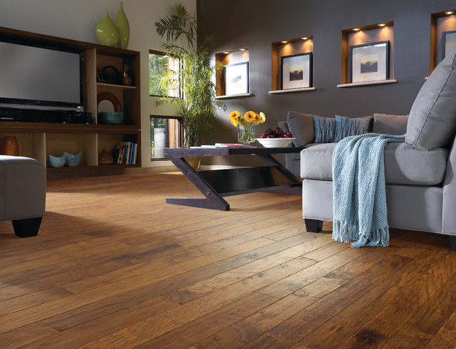 Hickory Wood Floor Living Room - Contemporary - Living Room - living room with wood floors