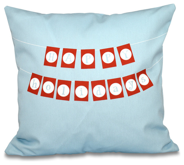 Happy Holidays Banner, Word Print Outdoor Pillow - Contemporary