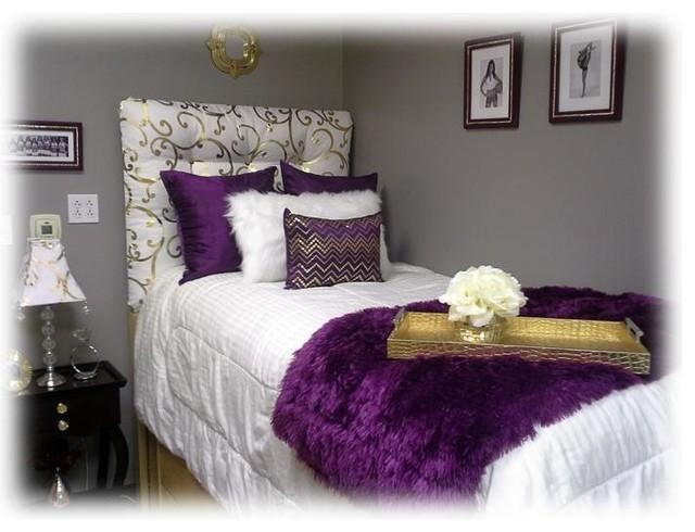 Dark Cozy Girl Wallpaper Purple And Gold Dorm Room