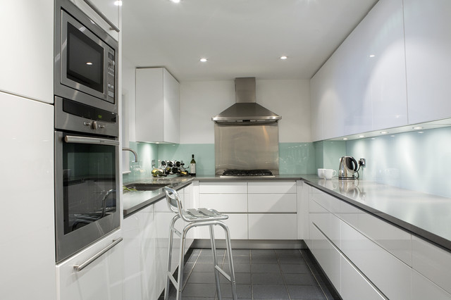 Lacquered Glass Kitchen Cabinets Modern White Lacquered Kitchen - Contemporary - Kitchen
