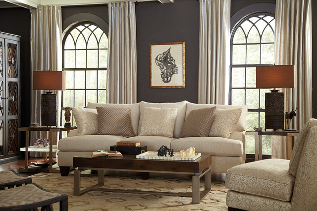 Living Room Neutral and Eclectic with Brooke Sofa - Eclectic - living room furniture houston