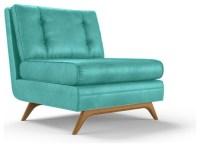 Eastwood Leather Armless Chair - Brighton Polinesia Blue ...