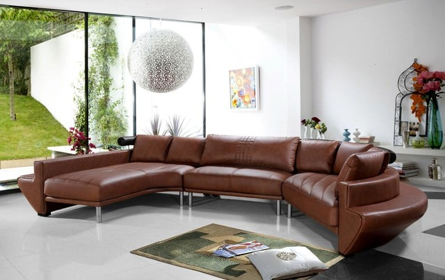 Contemporary Curved Sectional Sofa in Brown Leather - Modern - contemporary curved sofa