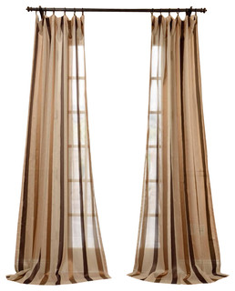 Carlton taupe linen blend stripe sheer curtain single