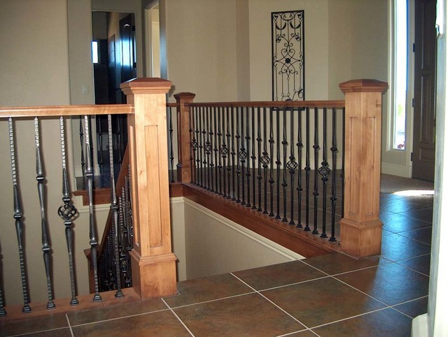 Lowes Bathroom Vanities Lights Wood Railing With Wrought Iron Balusters - Traditional