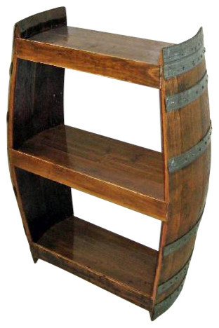 Handcrafted Reclaimed Barrel Wine Shelf Rustic Wine
