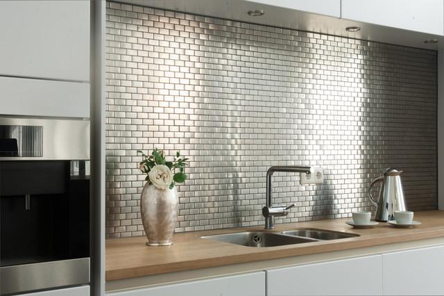Edelstahlmosaik Mosaikfliesen - Modern - Küche - Hamburg - von Mosafil - weisse kuche mit mosaikfliesen