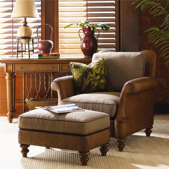 Island Estate Loose Back Hamilton Wicker Chair \ Ottoman - tropical living room furniture
