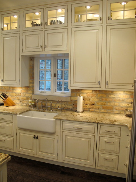Kitchen Island Overhang For Stools Lincoln Park | Chicago Kitchen With Brick Backsplash