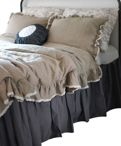 Ruffle Natural Linen Duvet Cover With Lace, Twin Size