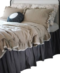Ruffle Natural Linen Duvet Cover With Lace, Twin Size ...