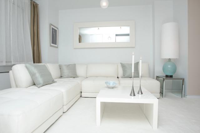White Modern Design - Contemporary - Living Room - New York - by - all white living room