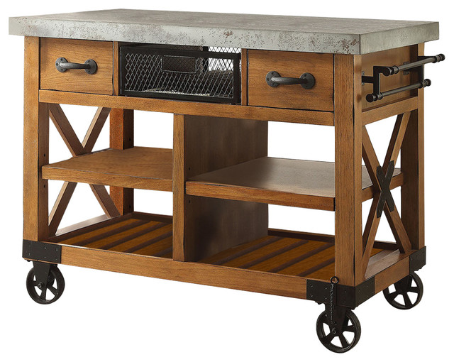 John Boos Kitchen Island Bar Cade Cart, Antique Oak - Industrial - Kitchen Islands And