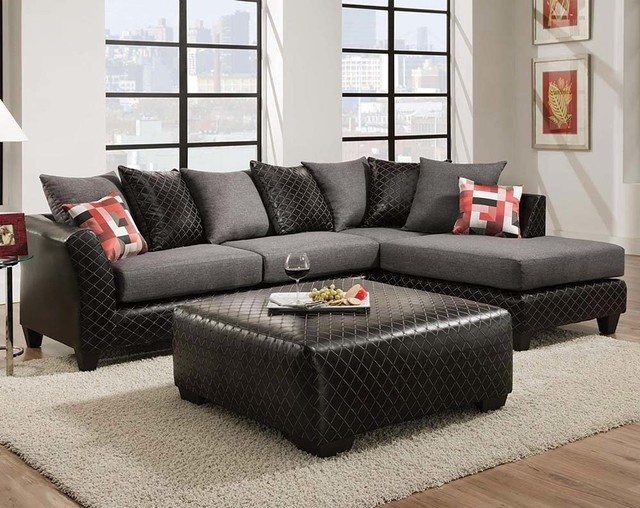 Jitterbug Grey Two Piece Sectional Sofa - Contemporary - Living - american freight living room sets