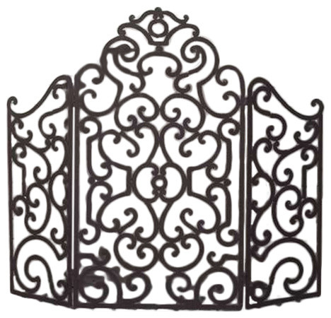Iron Scroll Fire Screen by Dr Livingstone I Presume - Victorian