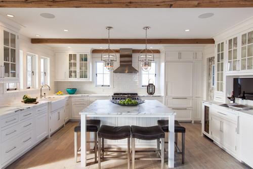 13 U Shaped White Beach Style Kitchen Designs (with 1 Island)
