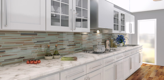 sunset beach hand painted glass tiles contemporary kitchen white painted brick kitchen backsplash transitional kitchen