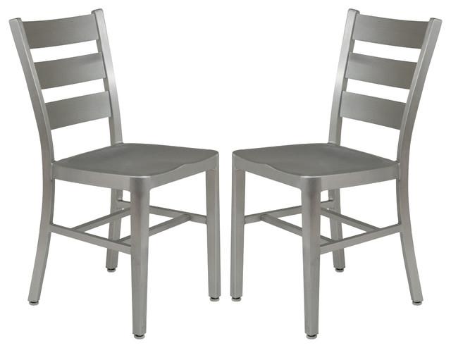Leisuremod Delmar Modern Aluminum Dining Chair Set Of 2