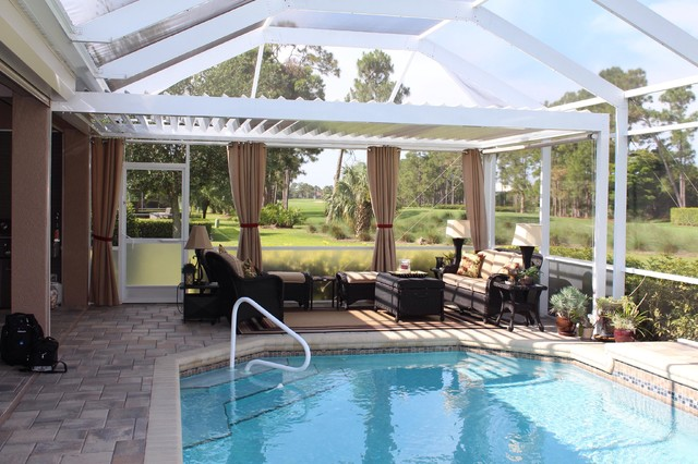 Arcadia louvered roof installed units tropical sunroom tampa
