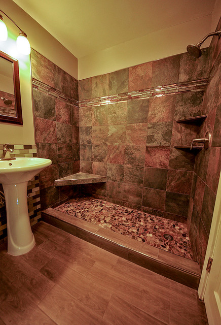 River Rock Tile Shower Floor River Rock Shower Floor Bathroom Remodel