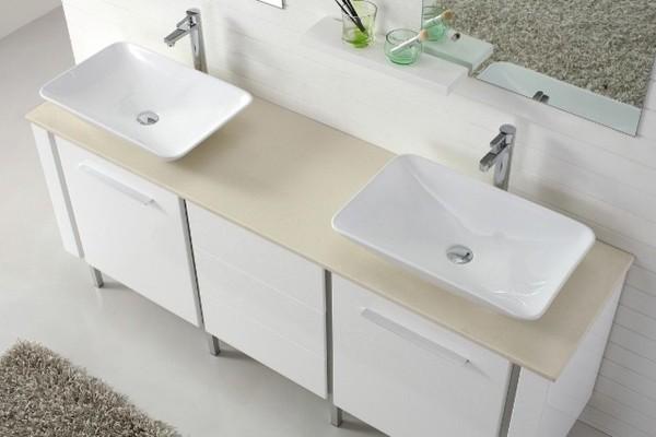 Catalan 1800 Contemporary Double Basin White Vanity