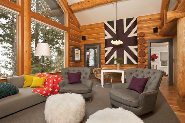 Jackson Hole Modern Log Cabin - Grace Home Design - Contemporary - log cabin living rooms