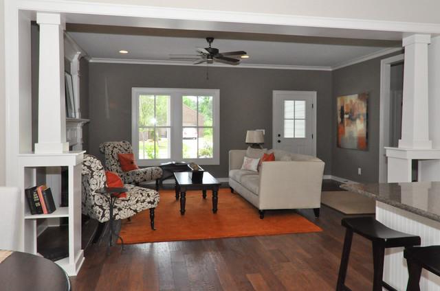 Orange and Brown - Living Room - Birmingham - by Signature Homes - orange and brown living room